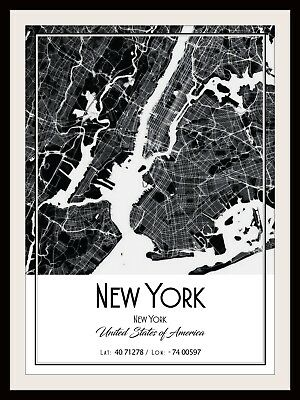New York City Map Poster Print Modern Contemporary Cities Travel