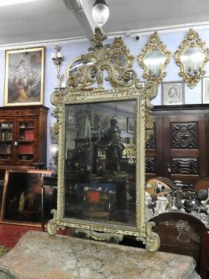 Beautiful Antique Mirror Venetian Lacquered And Painted Period 19° Century