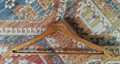 """Vintage Antique Wooden Clothes Hanger Stamped """"The Barclay"""" 17"""" Wide Metal Hook"""