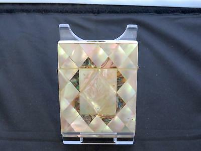 Antique Victorian Mother-Of-Pearl Card Case, Abalone Panels, Circa 19th Century