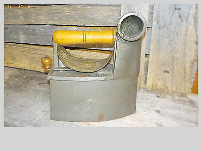 Early Side Chimney Cast Coal Iron W/ Rare Knuckle Guard-Victorian Museum Quality