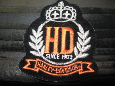 """HARLEY DAVIDSON Crown HD SINCE 1903 Patch.. 3.5""""x3"""" Free Shipping.."""