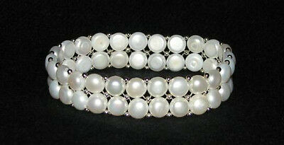 Clearance Item - White Freshwater Button Pearl Stretch Bracelet Double Strand