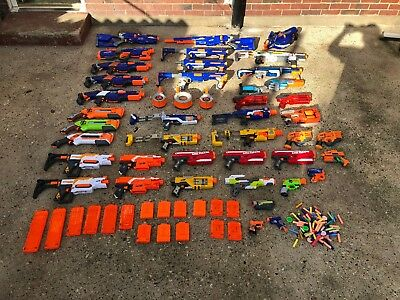 Huge Nerf Joblot Bundle Extreme Arsenal Collection 40+ Guns With Mags Etc!!!