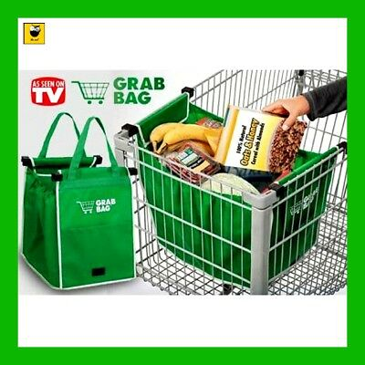 Large Trolley Clip-To-Cart Grocery Shopping Green Bags Portable