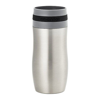 Chantal 10 Ounce Stainless Steel Single Serve Easy Beverage Travel Mug, Black