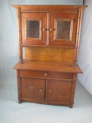 Antique Childs Wood Toy Cabinet Hutch Glass Doors 7499 Picclick