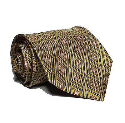 """Jos A Bank Men Silk Dress Tie Yellow with Print 3.5"""" wide 58"""" long Made in Italy"""