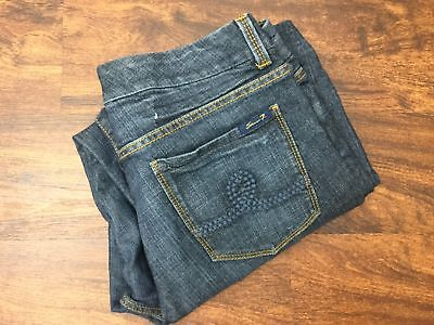 SEVEN7 Women's Dark Wash Relaxed Straight Leg Mid Rise Bootcut Jeans Size 14