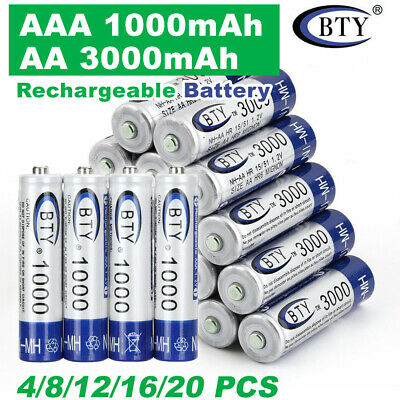 4X-20X BTY AA Rechargeable Battery Recharge Batteries 1.2V 3000mAh Ni-MH