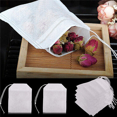 100x non-woven Empty Teabags String Heat Seal Filter Paper Herb Tea Bags Set~