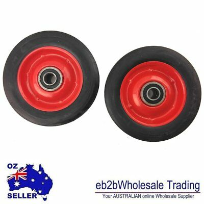 "2X 6"" Solid Rubber Jockey Trolley Wheels with 1/2"" 5/8""Inch Bore Puncture Proof"