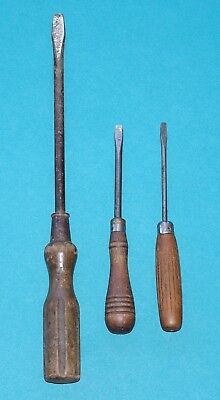 3 x antique screwdrivers with turned wooden handles - including one extra large