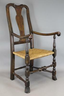 Rare 18Th C Ma Queen Anne Armchair Rams Horn Arms Carved Hands Spanish Feet Queen Anne Armchair E47