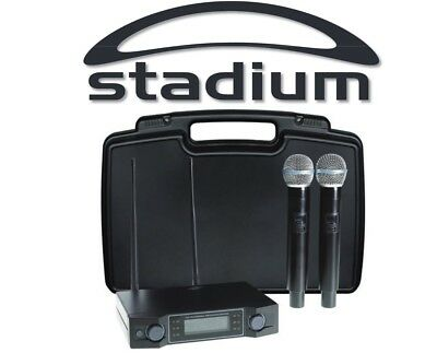 Stadium Twin UHF 60M Wireless MIC Microphone Pack Carry Case W2MICA