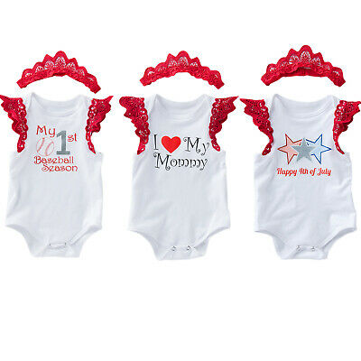 Infant Newborn Baby Girl Clothes Jumpsuit Romper Bodysuit Headband Outfits Sets