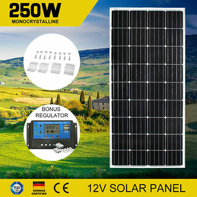12V 250W Solar Panel Kit Mono Cell 250watt & Regulator & 4PC Mounting Brackeks