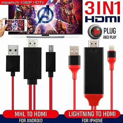2M MHL 11Pin Micro USB to HDMI Android/8 Pin Lightning to HDMI Cable iPhone Only