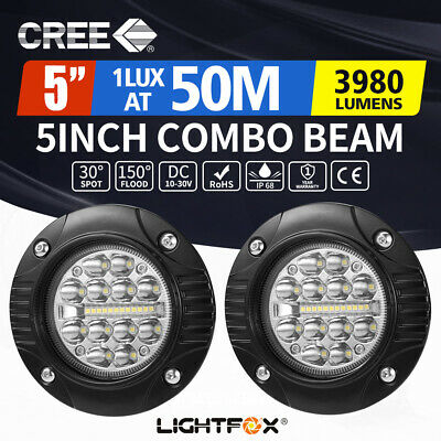 2 X 4inch CREE LED Work Light Bar Flush Mount Combo Round Offroad Boat Truck ATV