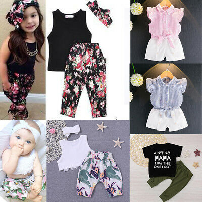 Summer Toddler Baby Kids Girls Top Short Pants Two-piece Suit Outfits Set New