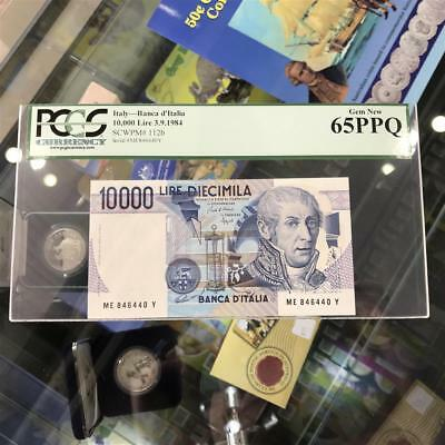 Bank of Italy 10,000 Lire 1984 Banknote PCGS Gem New 65 PPQ A. Volta #3209