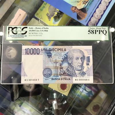 Bank of Italy 10,000 Lire 1984 Banknote PCGS Ch aNew 58 PPQ P.112c A. Volta