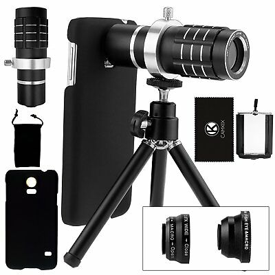 Smartphone Camera Lens Kit Tripod Bag Case Fish Eye Macro Wide Angle Accessories