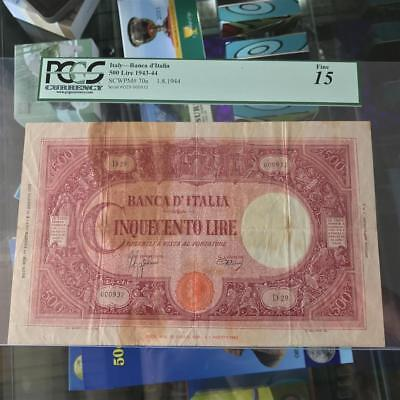 Bank of Italy 500 Lire 1.8.1944 Banknote PCGS Fine 15 P.70a