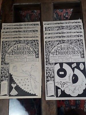11 Anciens Journaux Le Journal Des Brodeuses 1957 Vintage Embroidery Patterns