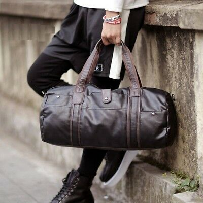 Vintage Men Leather Tote Large Luggage Travel Shoulder Duffle Gym Bag Handbag