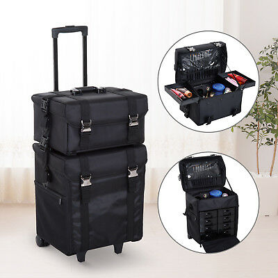 Make-up Bag 2-in-1 Travel Case Trolley Wheels Roll Cosmetic Handle Strap Black