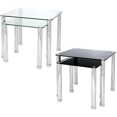 Nest Of 2 Glass Chrome Tables Home/lounge/living Room Set Side/end/lamp/coffee