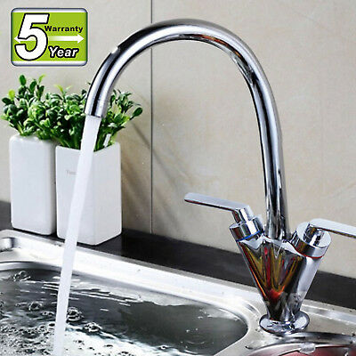 Swivel Spout Kitchen Sink Taps Modern Twin Dual Lever Mixer Tap