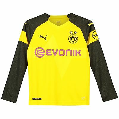 BVB Borussia Dortmund Official Home Shirt 2018-19 Kids Long Sleeve Puma Football