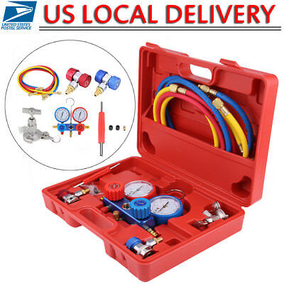 R134A HVAC A/C Refrigeration Kit AC Manifold Gauge Set Auto Serivice Tool Kits