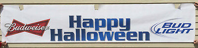 "Budweiser Bud Light Beer Poster Sign Happy Halloween Bar Restaurant 120"" x 24"""