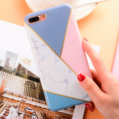 Granite Marble Contrast Color Geometry Soft TPU Cover Case for iPhone 7 8 6 Plus