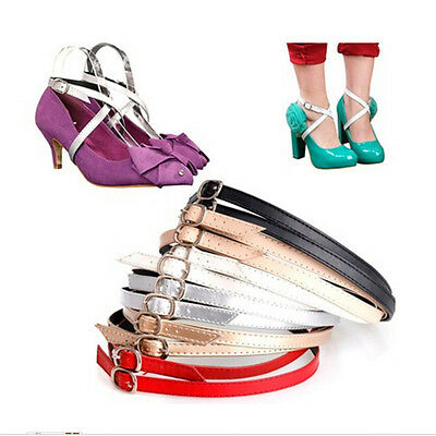 Detachable PU Leather Shoe Straps Laces Band for Holding Loose High Heel Sh CL