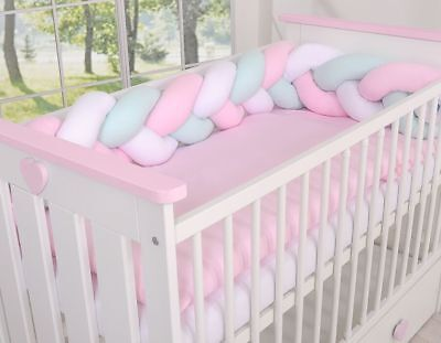 LUXURY 7 pcs BABY BEDDING SET TO FIT BABY COT or COT BED/ BRAID ,KNOT BUMPER