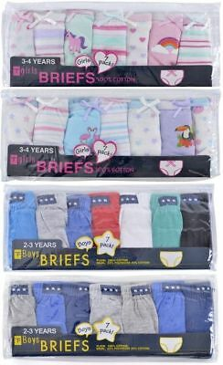 7 Pack Boys Girls Kids Pants Briefs Knickers Underwear Age 2-3 3-4 5-6 7-8 Years