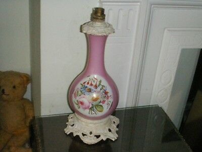 Old Antique French Paris Porcelain Painted Brass Oil Lamp 1860 Now Electric Lamp