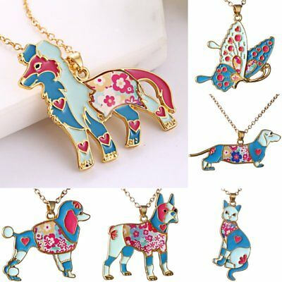 Colorful Printing Butterfly Dog Cat Animal Pendant Necklace Women Costum Jewelry