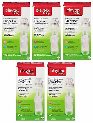 Playtex Baby Nurser Drop-Ins Baby Bottle Disposable Liners 8 oz 100 (Pack of 5)