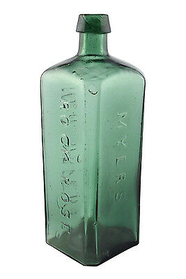 Antique Myers Rock Rose New Haven Glass Bottle with Applied Top and Iron Pontil