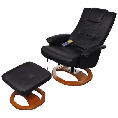 Electric Massage Chair Artificial Leather Home Furniture Foot Stool Black Padded