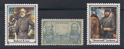 Robert E Lee & Stonewall Jackson - Set Of 3 U.s. Stamps - Mint Condition