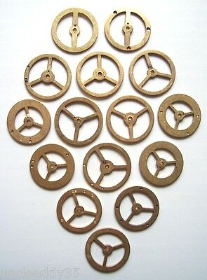 Assorted lot of 15 vintage clock brass balance wheels 21-23 mm. Steampunk parts