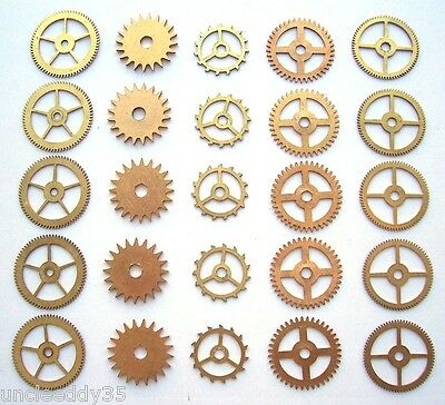 Lot 25 vintage clock small brass gears wheels 16-21 mm Steampunk art parts #2