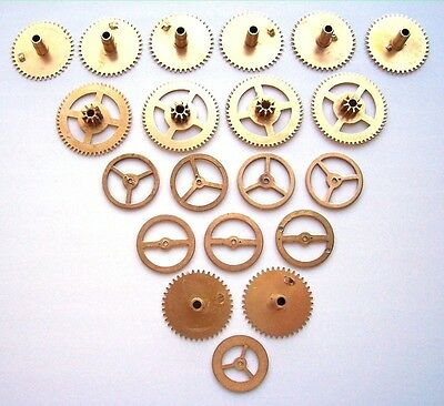 Lot 20 vintage clock brass gears and balance wheels 23-32 mm. Steampunk parts