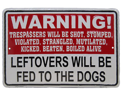 "WARNING! Trespassers Will Be Shot Stomp 8""x12"" Aluminum Metal Plate Parking Sign"